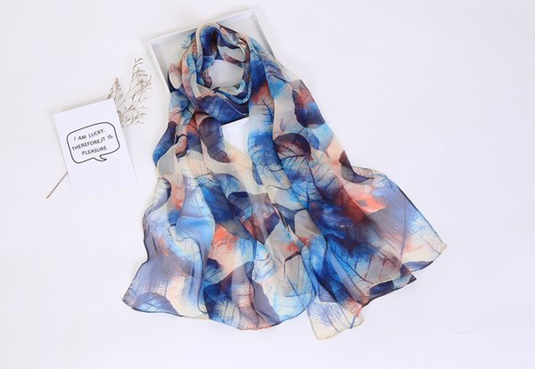 Women 2019 new fashion thin scarf wholesale summer spring scarves beach holiday seaside sunscreen leaf print long scarf wraps accessories