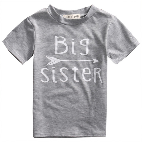 Pudcoco Baby Kids Girls Boy Short Sleeve Cotton T-shirts Top Letter print Big Brother Sister