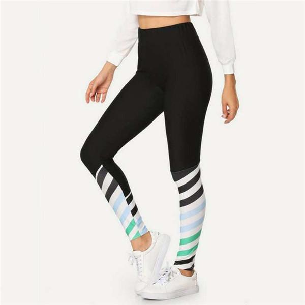 Женская сексуальная мода контрастного цвета печатных йога брюки тренировочные брюки женщины спортивный зал йога брюки тренировки середины талии работает брюки A1