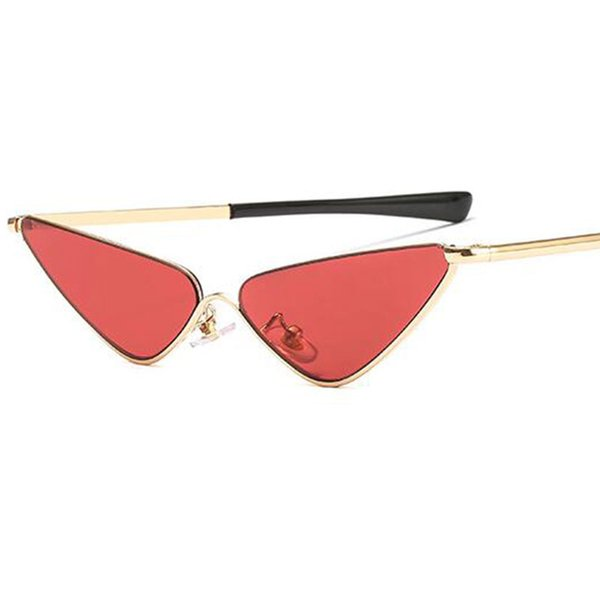 Luxury Hip Hop Triangle Glasses Metal Half Frame Rimless Cat Eye Sunglasses Female Lady Retro Brand Designer Clear Red Sun Glass