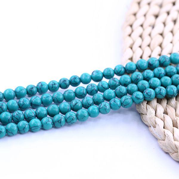 1 cadena 10mm granos redondos de piedra Color turquesa
