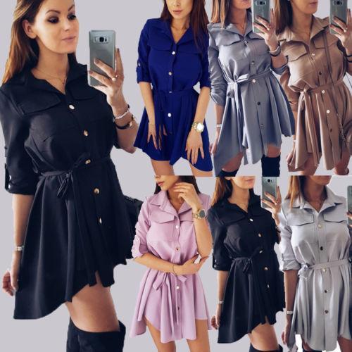 2019 New Hot Sale Sexy Women Choker V Neck Long Top Shirt Dress Harajuku Ladies Casual Party Mini Dress Size S-XL