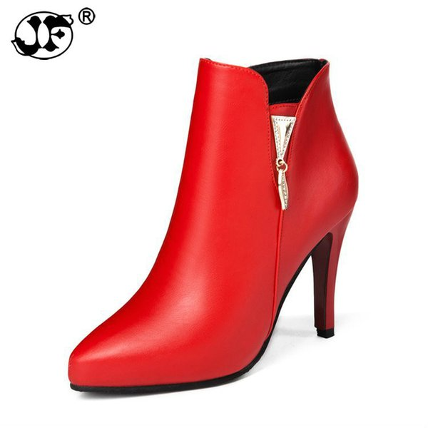 Spring Autumn Stiletto Thin High Heels Pointed Toe Faux Leather Zipper Style Sexy Ankle Womens Boots Bota Feminina 563