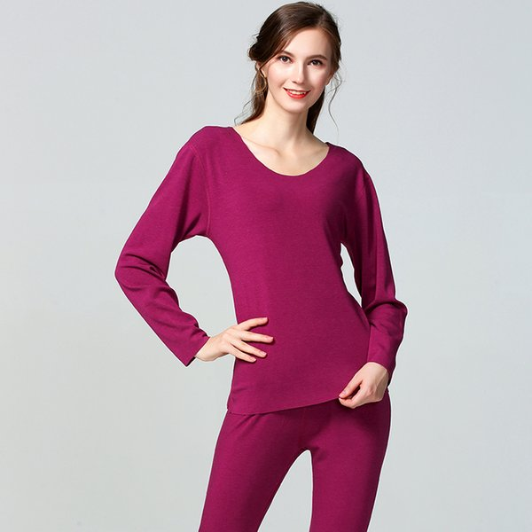 Woman Warn Thermal Underwear Set Seamless Winter For Women Solid Simple Elastic Female Sleep Wear Thermal Clothing Spring Autumn