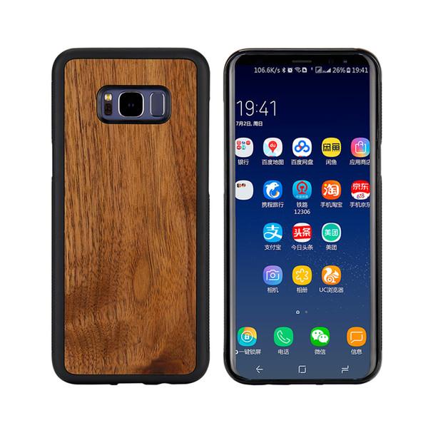Noyer Bois Véritable Bois Naturel Cas de Téléphone TPU Gel Peau Douce Couverture En Bois De Protection pour Samsung Galaxy S10 Plus Lite Note 8 9 S6 S7 S8