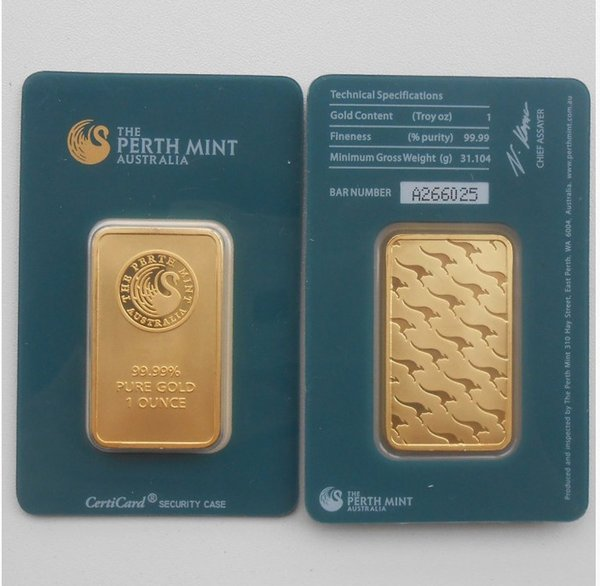 top popular New 1 oz Australia Perth Mint 24K Gold Plated Bar Coins Quality Copy Collections Souvenirs Christmas Present Green Sealed Package 2021