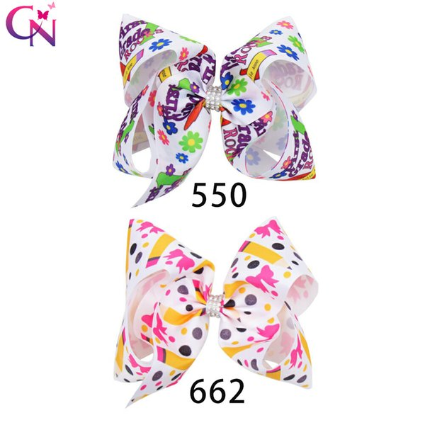 """7"""" Back To School Hair Bows for Girls Large Pencil Print Ribbon Headwear With Rhinestone Knotted Hair Clip Children Hair Accessories"""