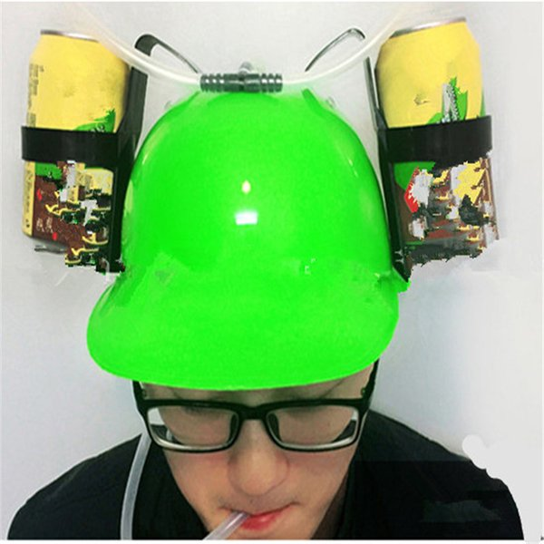 New Beverage Helmet Drinking Hat Funny Toys Lazy lounged Straw Cap Beer Gifts For Lazy Person Free your Hands Cap