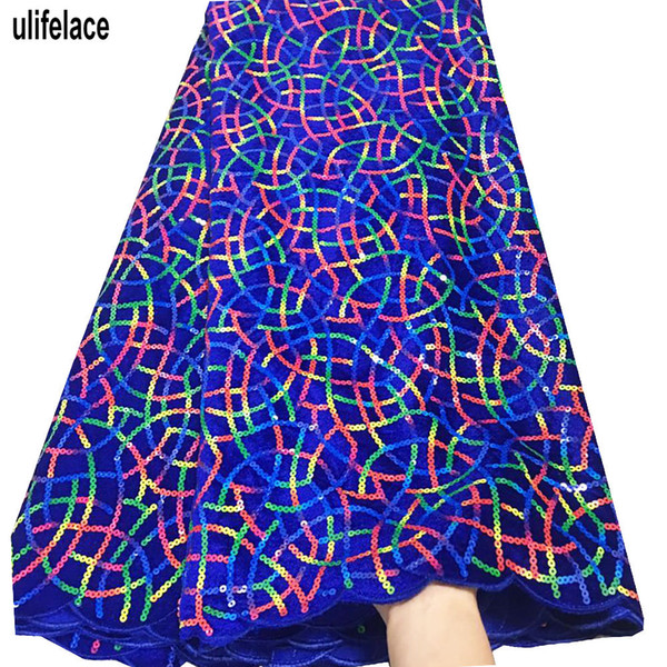 Многоцветные блестки африканские кружевные ткани 2019 вышитые высокого качества черный нигерийский бархат французский тюль кружевной ткани шнурки F4-2029