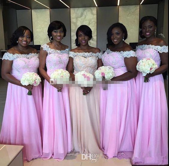 2020 NUOVO Blus Rosa Plus Size Abiti da sposa lunghi di chiffon nero ragazze una domestica linea Cheap d'onore Abiti A spalle
