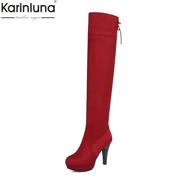 Karinluna Nuevas llegadas Dropship Tamaño grande 34-44 Tacones altos Plataforma sobre la rodilla Botas Zapatos de mujer Zapatos rojos negros Botas de mujer