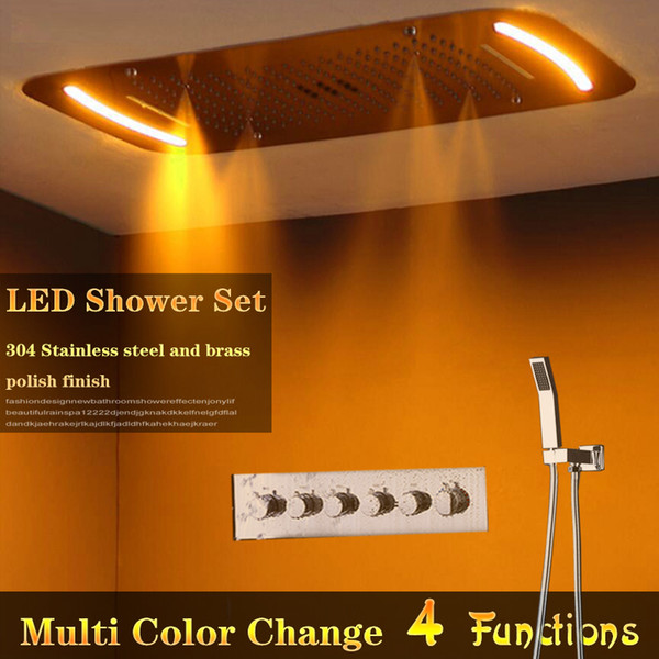 Multi Function Concealed Shower Set Ceiling Mounted Rain ,waterfall,curtain, Spa Mist Shower Head hot cold high flow shower valve mixer set