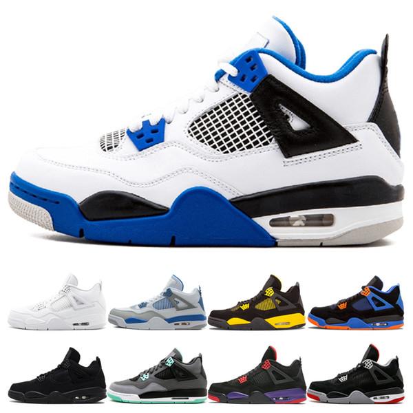4 4s Basketball Shoes Mens Motosports blue Black Cat Pure Money Thunder Raptor Military Blue bred Trainer Mens Designer Sneakers Sport Shoes
