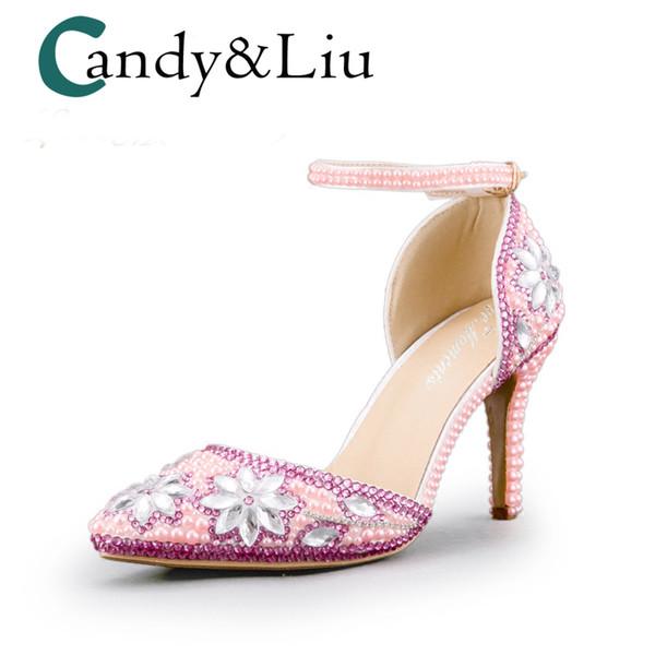 Pembe Kristal Parti Sandalet Sivri Burun Ayak Bileği Kayışı Gümüş Düğün Gelinlik Ziyafet Handmaid için Rhinestones Kadın Ayakkabı