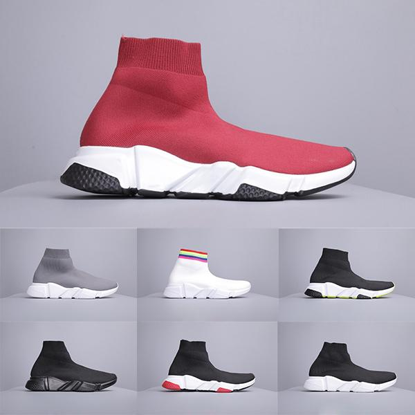 top popular 2019s Hot Sales New Arrivals Fashion Paris Triple-S Sneakers High Cut Casual Dad Shoes Comfortable Knit Socks Shoes Size 2020