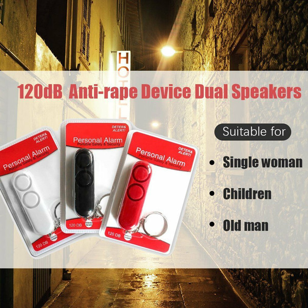 120db Anti Vergewaltigung Dual Lautsprecher Lauter Alarm Tasche Schlüsselanhänger Sicherheit Persönliche Alarmglocke Sicherheit Schutz Outdoor Gadgets CCA11786 60 stücke