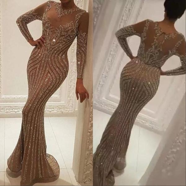 Manga larga vestidos de noche de los cristales desgaste de lujo Oro vestidos de noche de Zuhair Murad de la celebridad vestido de fiesta