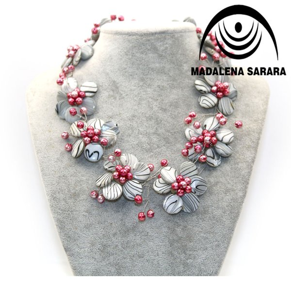 Hot Trend European American Festival Freshwater Pearl Necklace And Shell Flower Necklace Colorful Multi-row Personality
