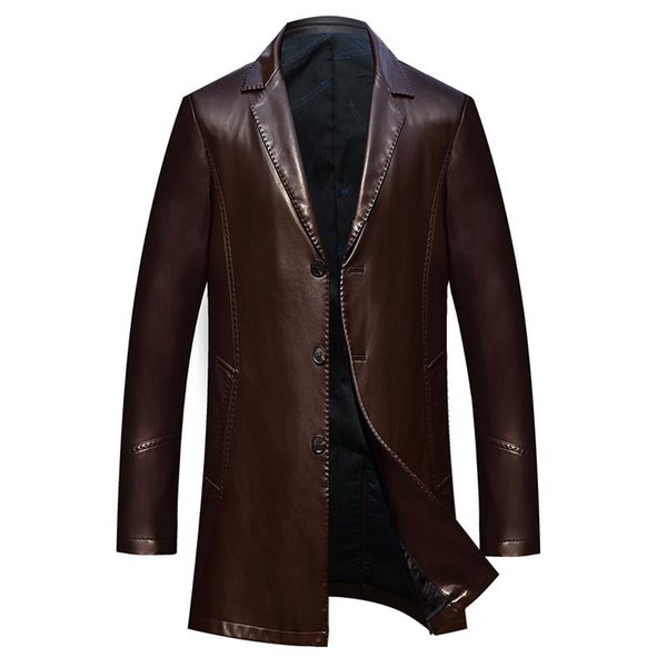 Dropshipping spring and autumn loose lapel leather jacket men plus size leather casual jacket mens coat