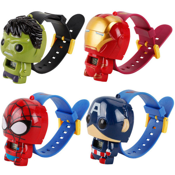 Novas Crianças Vingadores deformação relógios New Children Superhero filme dos desenhos animados Capitão América Homem De Ferro Homem Aranha Hulk Assista brinquedos
