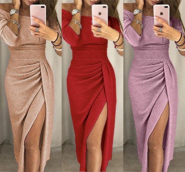 Sexy Split Plus Taille Femmes Moulante Crayon Dress 2019 Femmes Mini Décolleté Cou Bling Paillettes Robe De Cocktail De Fête FS5299