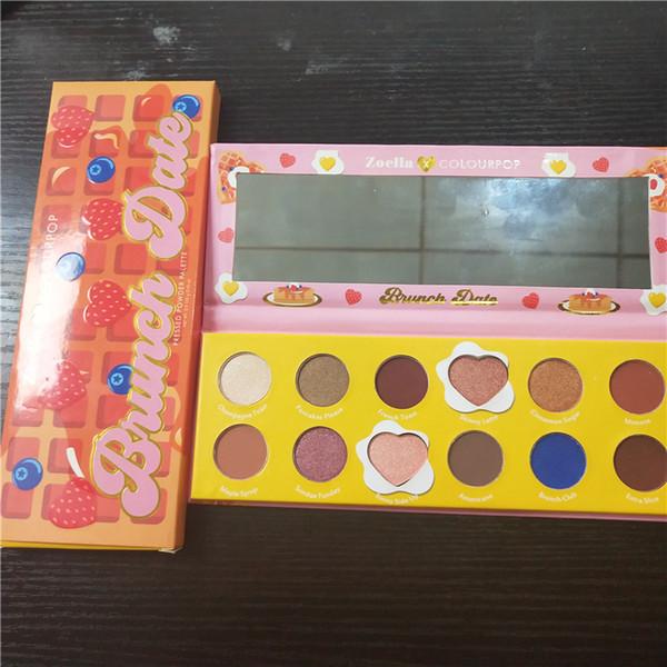 Sıcak Colourpop x Zoella Işbirliği Makyaj Göz Farı BRUNCH TARİH 12 Renkler Sıkıştırılmış Pudra Paleti Göz Farı ücretsiz kargo