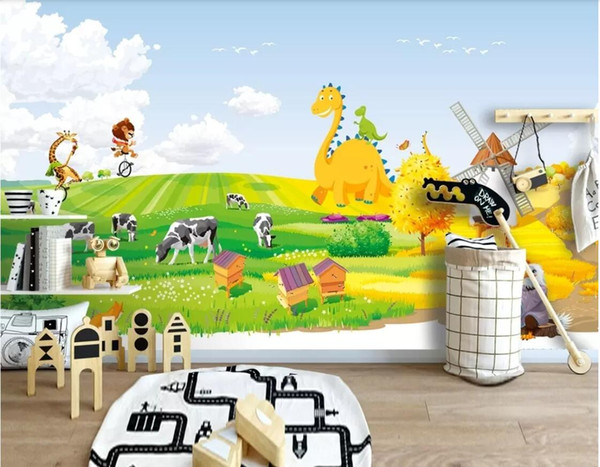 3d wallpaper custom photo mural Idyllic animal cartoon background wall children room background wall art canvas pictures wall tapestry 3d