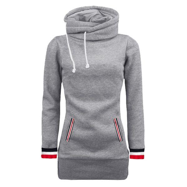 Frauen Sweatshirts Pullover hoher Kragen Tasche Solid Color Langarm-beiläufige warme Winter-Herbst-lose Oberseiten