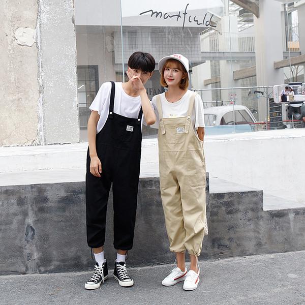 Novo verão moda bib calças masculinas femininas workwear macacão versão coreana dos homens soltos nove pontos casual bib calças susperdens