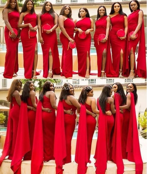 Red One Shoulder Mermaid Bridesmaid Dresses 2019 Side Split Over Train Plus Size Garden Country Black Girl Wedding Guest Gowns Cheap