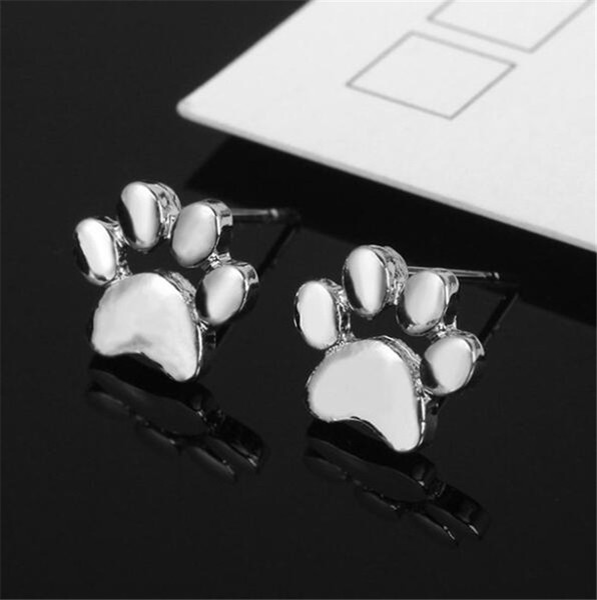 Nouveau creux Chien Chat Paw Print Stud femmes Girl Fashion Puppy Memorial Minimaliste animaux Empreinte Stud Xmas Gift T545