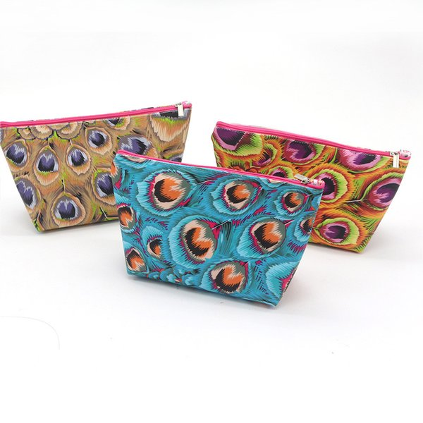 Women's canvas print wallet fashion cosmetic bag art feather coin purse hand carry portable key phone bag wallet Billetera