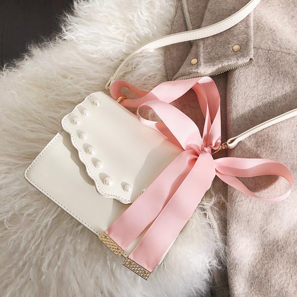 2019 Spring New Sweet Square bag Bolso de diseñador de mujer de cuero de PU de alta calidad Bolso de mano de cinta Bolsas de mensajero de hombro con lazo