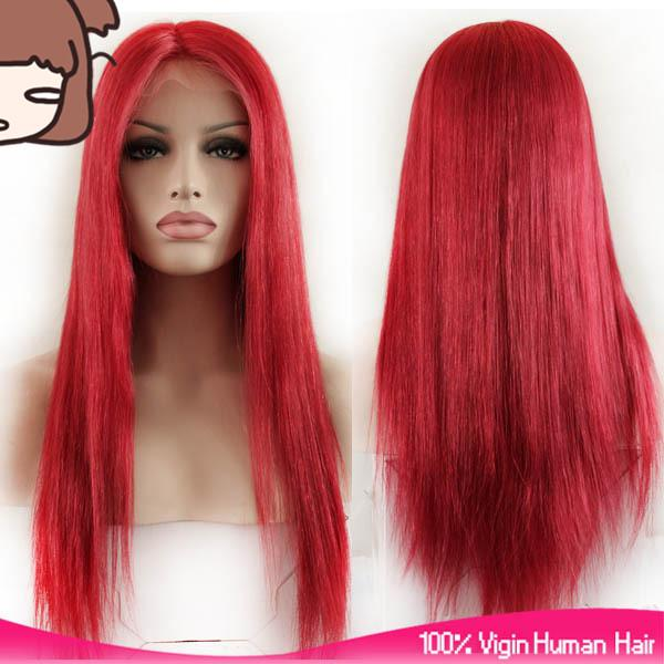 Glueless 100% unprocessed remy virgin human hair new arrival red colorful long silky straight full lace silk top wig for women