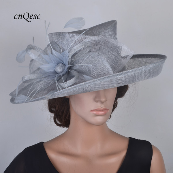 c8091a4fafa31 Light grey Elegant Large Sinamay Church Hat with feather flower for wedding