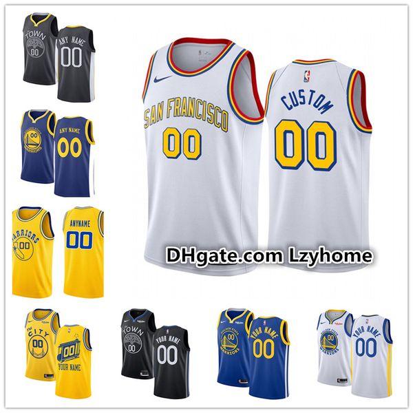 Personalizado Mens juventude douradaEstadoGuerreiros Stephen Curry 30 Klay Thompson 11 Eric 7 Paschall D'Angelo 0 Russell Basketball Jerseys