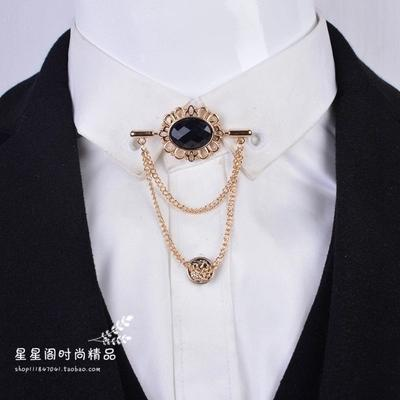 Wholesale- 2017 Time-limited Real Zinc Alloy Men Broche Brooches For Men's Metal Brooch French Shirt Collar Pin Small Clip Medal