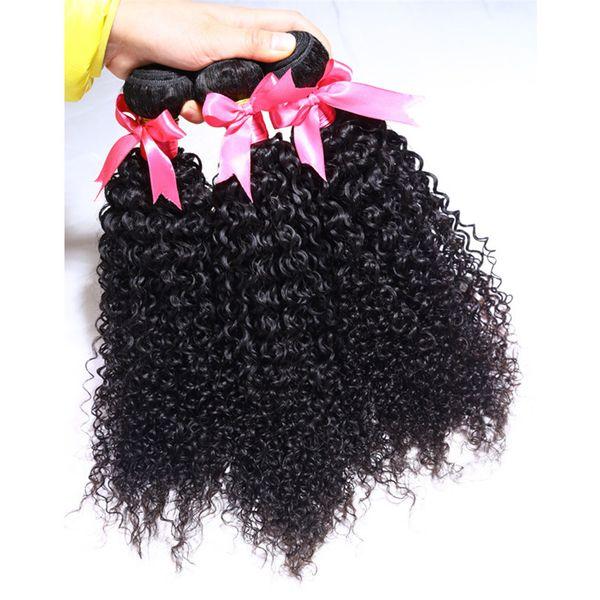 8-28 Pulgadas Mejor Venta Suave Natural de Alta Calidad Rizado Negro Virgen Pelo Humano Extensión de cabello Tramas de cabello