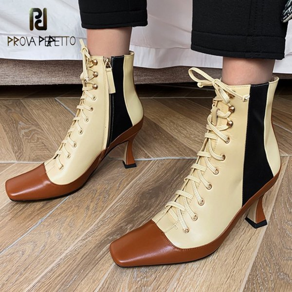 Prova Perfetto Women High Stiletto Heels Elastic Boots Lycra Boots Spring Autumn Women Sexy Square Toe Stocking Sock Shoes Pumps