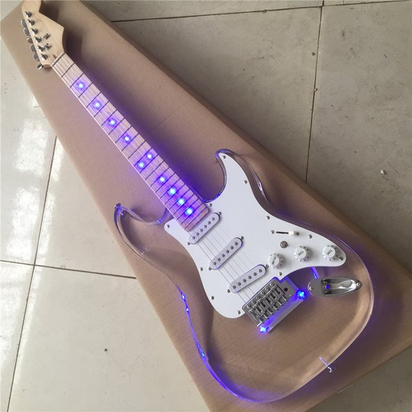 Custom shop,Acrylic body LED light Strat electric guitar,Maple fretboard,3*standard single coils pickups,Real picture free delivery guitarra