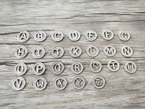 Trendy 26 Alphabet Letter Abalone shellfish Beads,Pave Zirocn Charms Connector for DIY Bracelets Jewelry Finding CT454