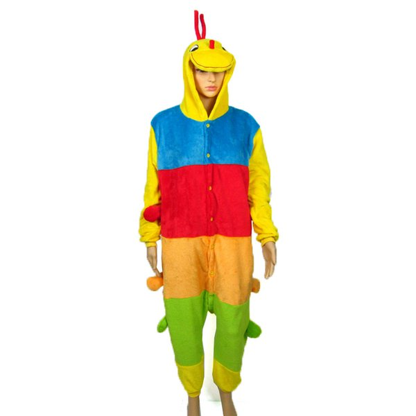 Adult Caterpillar Onesie Anime Costume Flannel Cosplay Costume Stripes Pyjamas Halloween Carnival Jumpsuit Loose Masquerade Outfit