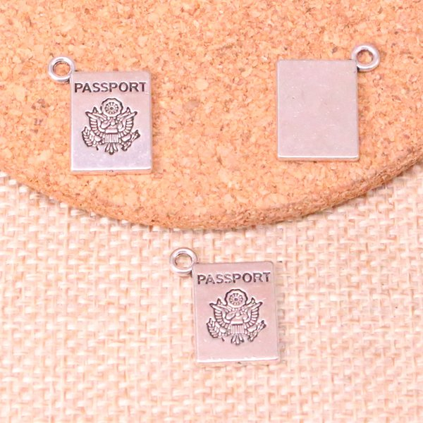 89pcs Charms book passport Antique Silver Plated Pendants Fit Jewelry Making Findings Accessories 18*14mm