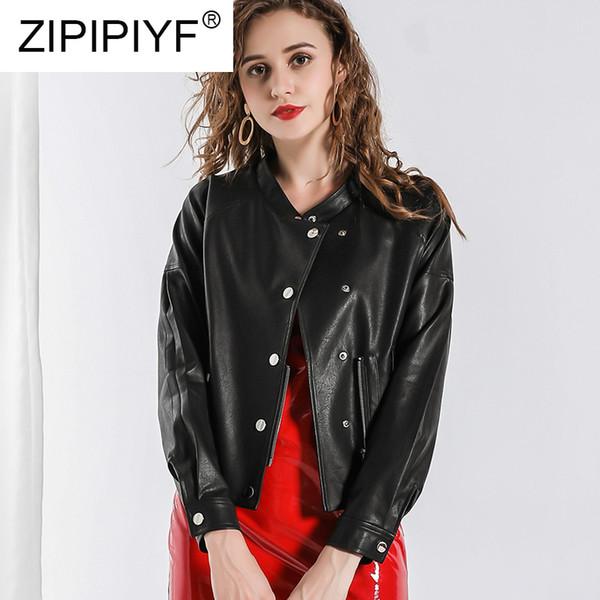 2019 Yeni Varış Kısa Yuvarlak-boyun Kadın Deri Ceket Ceket High-end Moda Ince Pist kadın Giyim C1956
