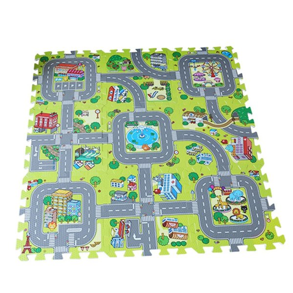 best selling Traffic Play Mat Puzzle Foam Interlocking Tiles Kids Road Traffic Play Rug Children Educational Playmat Rug Baby Play Set Mat