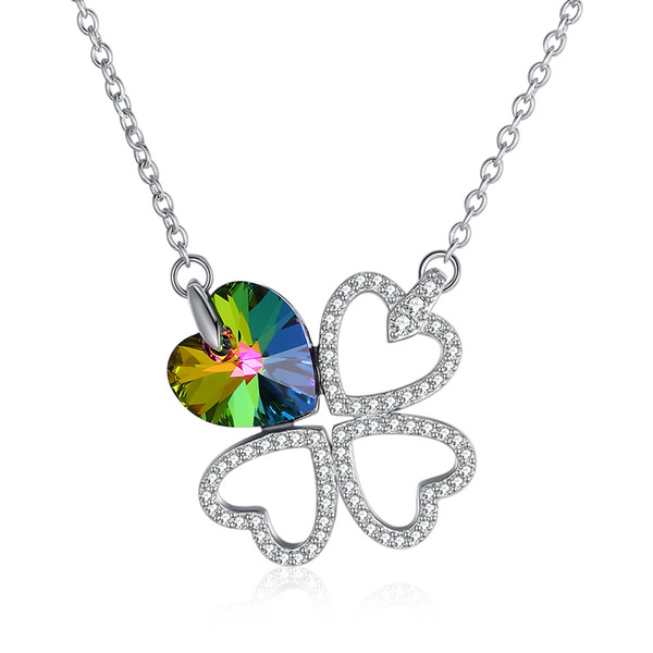 Classic Pendant Necklaces From Swarovski Element Crystal S925 Sterling Silver Four Leaves Love Lucky Necklace Valentine's Day Gift POTALA332