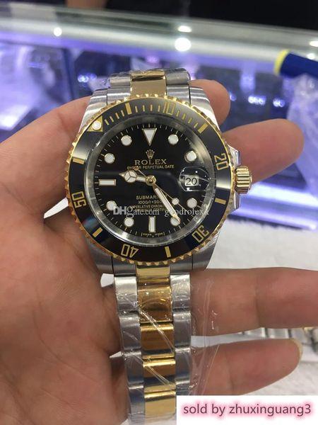 Calidad de lujo Zafiro Bisel de cerámica negra Dial 116613 Acero inoxidable Automático Hombres Hombres Reloj S Relojes Dos tonos Oro Papeles originales