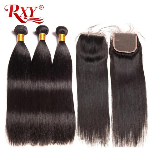 Fasci di capelli vergini brasiliani RXY con chiusura peli di capelli lisci con chiusura chiusura di pizzo 4x4 con fasci No spargimento