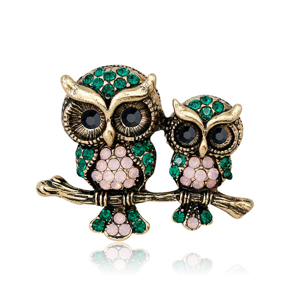 Wholesale Large Bird Owls Crystal Enamel Brooches Antiques Bouquet Owl Brooch Pin Scarf Clips Jewelry Free Shipping