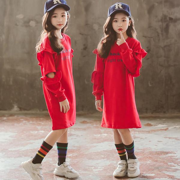 2019 Spring new kids casual dress girls letter printed sweatshirt dress children tiered falbala long sleeve loose sports dress 3-15T F5133